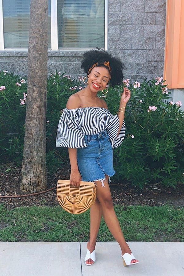 fe90c734b59 6 Ways to Wear a Jean Skirt #purewow #outfit ideas #style #fashion #denim # jeanskirt #denimskirt #fashioninspiration #outfitideas #summeroutfits ...