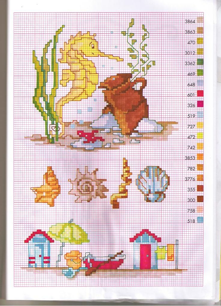 Cross stitch pattern, beach and sealife.