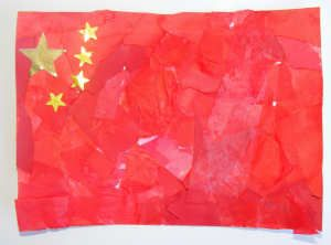Chinese flag collage 1) Cover your rectangle paper w/ glue . 2) Rip the paper into small pieces & cover the rectangle paper 3) Paint a layer of glue over the top to stick down any loose paper 4) Let it dry 5) Stick the Large star at the top left corner, w the 3 smaller stars around it from : Activity Village