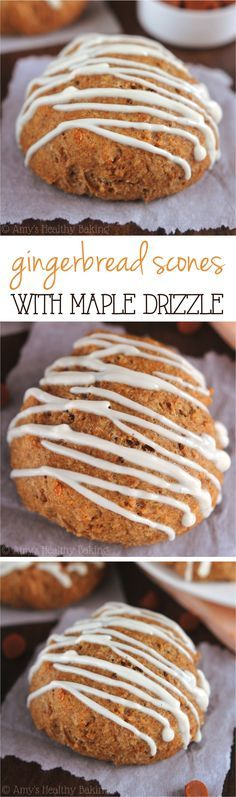 Gingerbread Scones with Maple Drizzle -- soft, tender & on the table in 30 minutes! Nobody can tell these pastries are healthy!