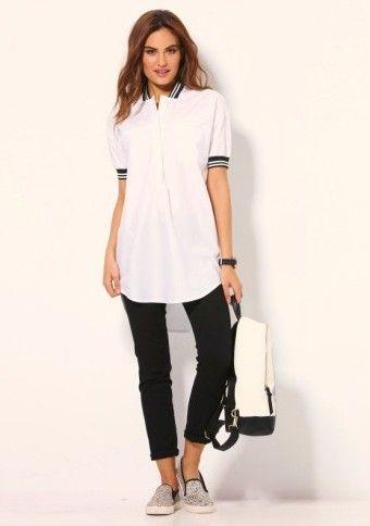 Asymetrická košile s krátkými rukávy #ModinoCZ #shirt #whiteshirt #streetstyle #fashion  #style #trendy #košile #season2016