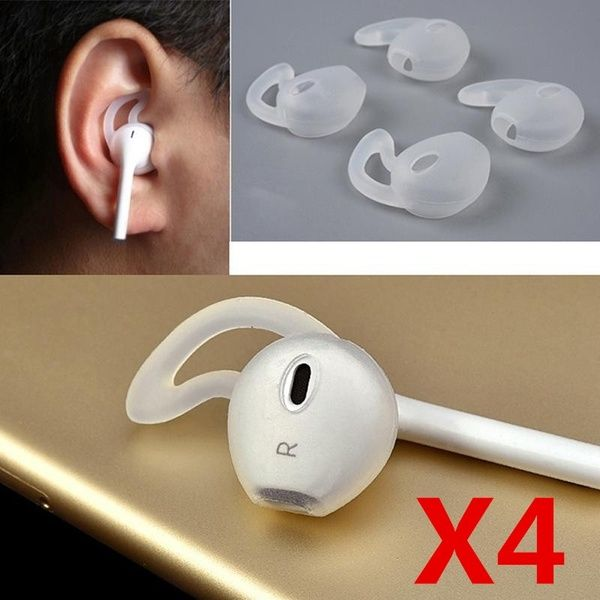 4pcs 2pairs 1 Pair Earphone Cover Tips Hook For Earpods Airpods Anti Slip Soft Silicone Sleeve For Iphone Earpods Headset Headphones Iphone X Iphone 8 7 Plus Apple Earphones Iphone Creative Earbuds