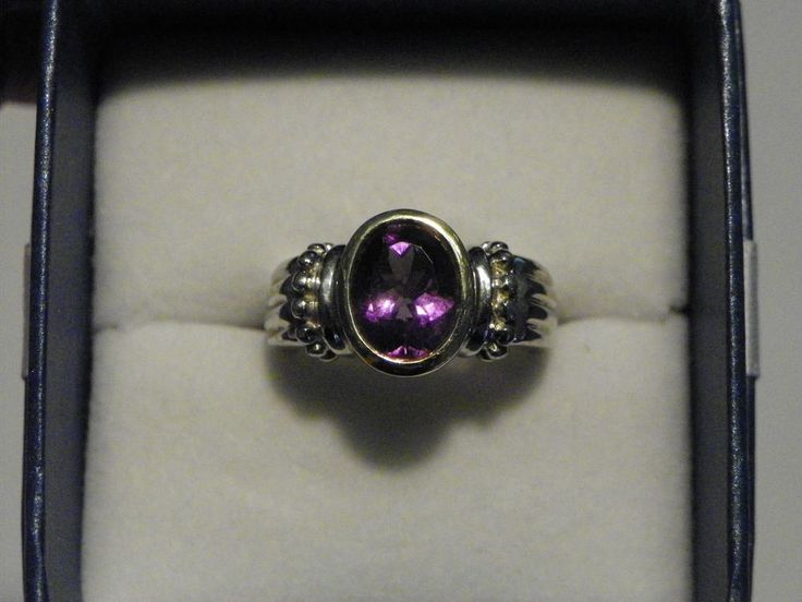 Vintage Amethyst Ring in 14K YG & 925 Sterling silver sz 7  #MichaelCFina #Solitaire
