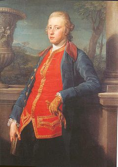 Georgiana husband William Cavendish, 5th Duke of Devonshire, painted in Rome by Pompeo Batoni, 1768