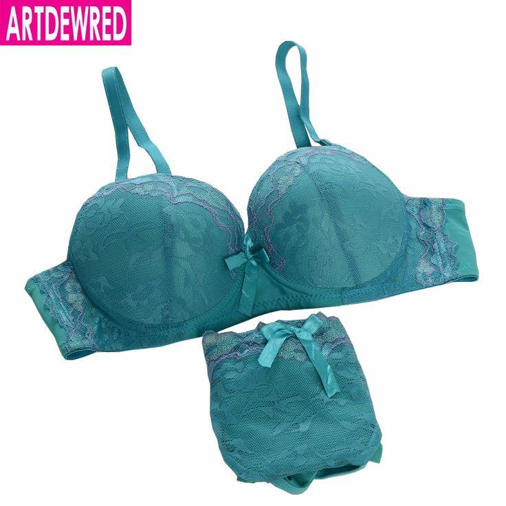 Sexy elegant lace bra young girl small deep V-neck push up adjustable women's underwear panties bra set