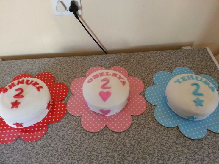 Triplets 2nd birthday cakes