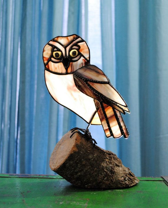 Custom Order-Made to order Saw Whet and Wax Wing Stained Glass 3D Animal Art. Stained Glass Wax Wing Bird, Stained Glass Saw Whet owl combo