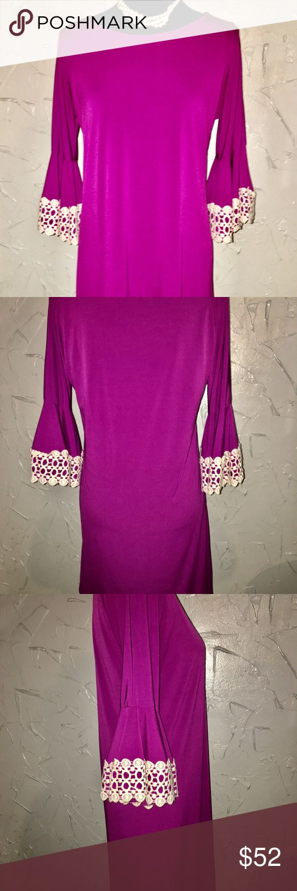 Judith March Magenta Bell Sleeve Dress Beautiful Judith March Magenta Dress has a lining underneath for added comfort! Ivory laced bell sleeves adds perfection to this dress! Like New Condition! Judith March Dresses Midi