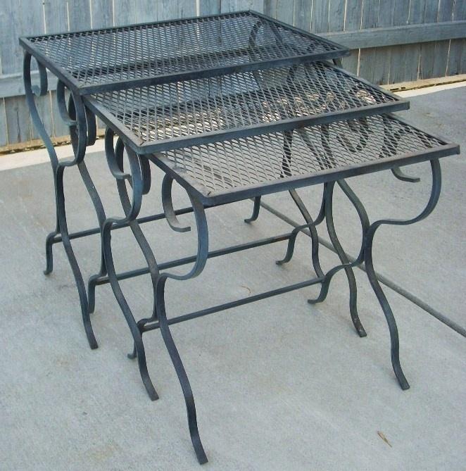 Outdoor Nesting Tables ~ Mid century modern salterini woodard wrought iron outdoor