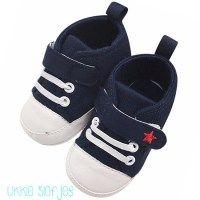 babyschoenen schoen schoentjes canvas katoen blauw blue star converse ster