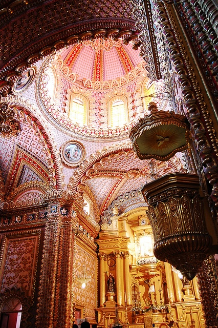 Detail of Templo de San Diego, Morelia, Michoacán, México by Marco Jiverd. Beautiful in pink and gold.
