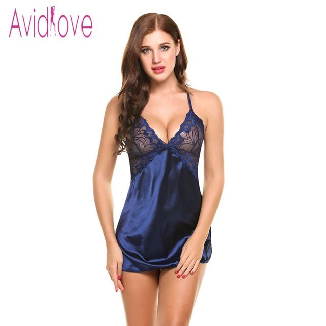 383dcb96c8 Avidlove Sexy Nightgown Lingerie Fashion Patchwork Nightdress Women Sheer  Scalloped Satin Nightwear Silk Slip Sleepwear Chemises ...
