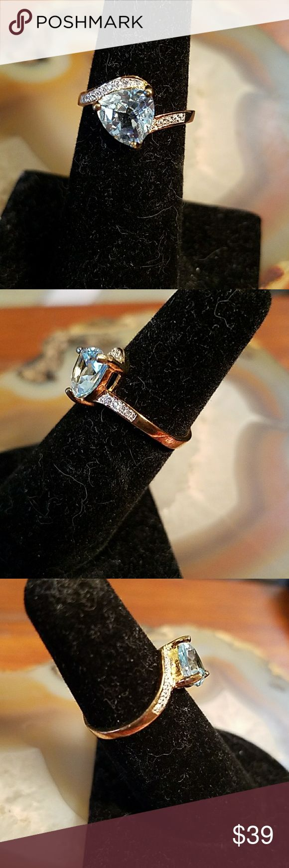 Gold ober 925 SS Sky blue topaz ring, size 6 Gold plated over .925 sterling silver ski blue topsz  ~~size 6  ~~stamped S.925  ~~good condition, miner wear not noticeable  Make an offer! Or add to bundle & I'll make u a private offer w no pressure or obligation at all Jewelry Rings