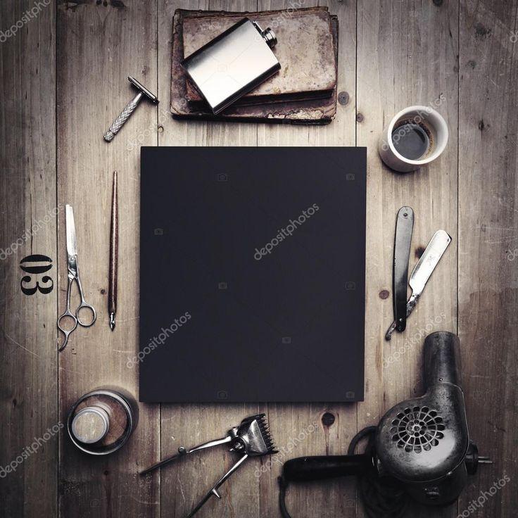 Инструменты парикмахерской и черный холст — стоковое изображение #71391207