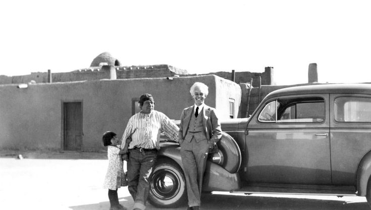 Lawren Harris at Taos Pueblo, New Mexico, Spring 1940.