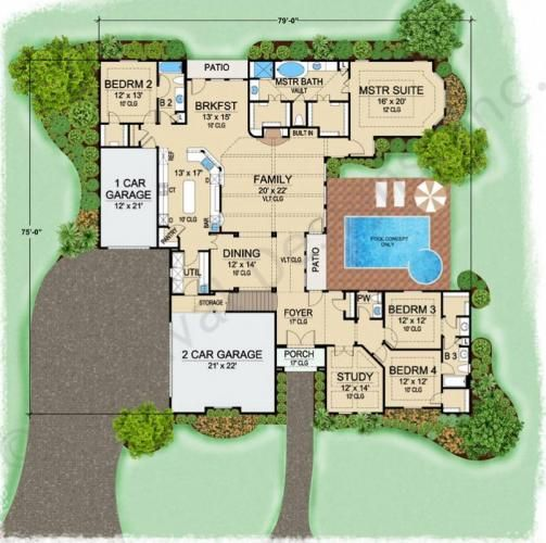 Villa serego retirement house plans luxury house plans for One story retirement house plans