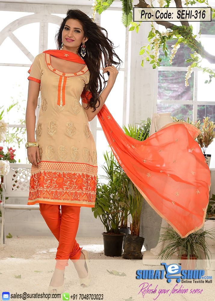 Orange & Light Yellow Salwar Kameez, Top:Fabric Chanderi,Botton:Fabric Santoon,Dupatta:Nazmeen and fancy work   Visit: http://surateshop.com/product-details.php?cid=2_27_44&pid=11908&mid=0