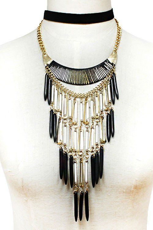 Tribal Style Black Statement Necklace