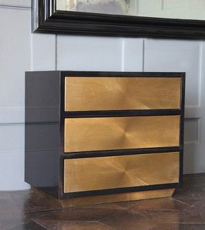 Black Lacquer and Brass Side Cabinet