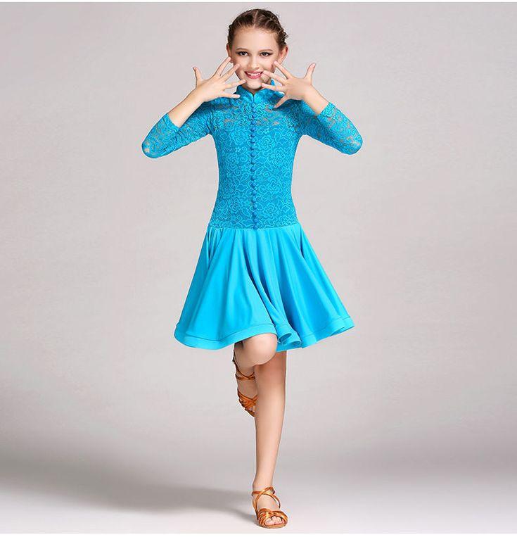 2017 Childrens Latin Salsa Ballroom Dance Dress Girls Dancewear Costumes FY1031 #YILINFEIER
