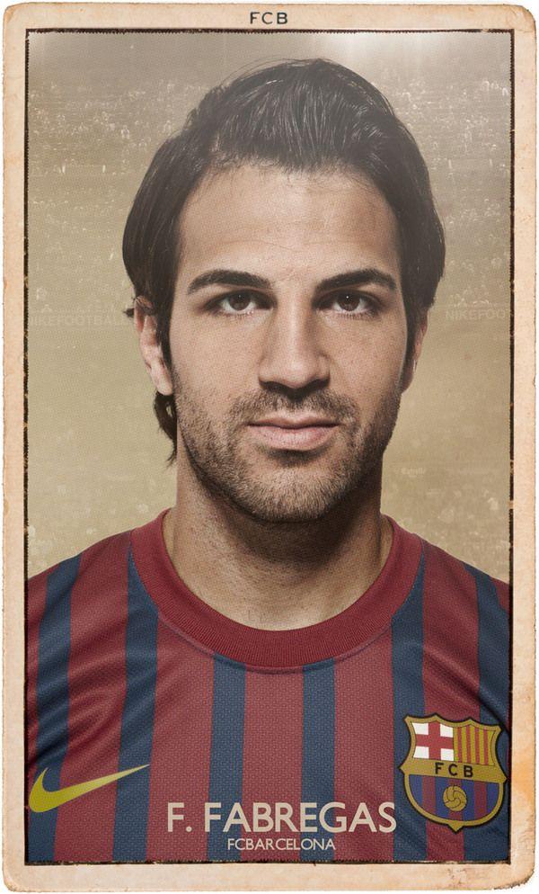 Cesc Fabregas - FC BARCELONA VINTAGE FOOTBALL CARDS by DIVER AND AGUILAR , via Behance