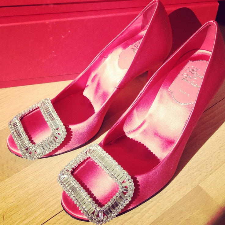 The very finest of evening shoes from Roger Vivier in hot pink satin strass  with crystal