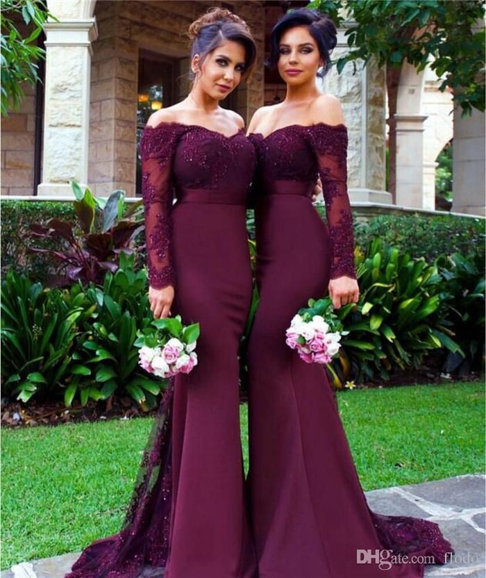 Off Shoulder Beaded Lace Long Sleeve Mermaid Bridesmaid Dresses 2016 Fall Sexy Purple Satin Wedding Guest Party Dress Maid of Honor Gowns