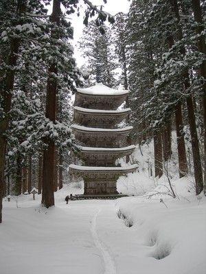 5-story stupa in Hagurosan shrine in winter,Yamagata,Japan  @山形人:雪の羽黒山 五重塔