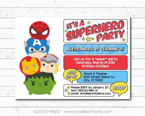 Tsum Tsum Avengers SuperHero Birthday Party Invitation Super