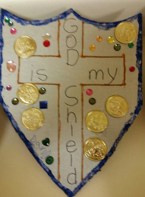 """Wednesday night Bible class for 3, 4, and 5 year olds. 2 Samuel 22 : 31 """"...he shields all who take refuge in him."""" I made cardboard shields for the class to decorate."""