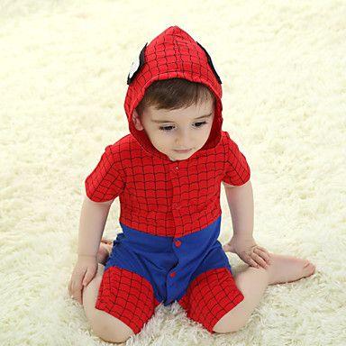 Precioso Spiderman rojo del bebé del algodón Kigurumi pijama para el verano – MXN $ 433.48