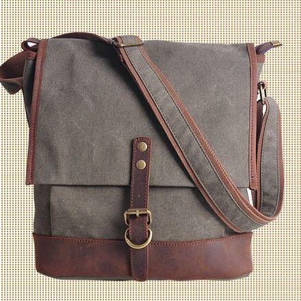 GRAY cross -body bag Genuine Cow Leather Men's leather bag canvas Bag/ leather canvas Briefcase / Messenger bag / 13'Laptop bag (1815) · Han...