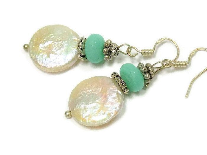 White freshwater coin pearl and amazonite earrings,sterling silver ear wires by Gemissima on Etsy