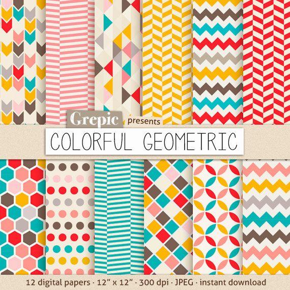 Papier numérique géométrique 12 papier numérique géométrique boîte « Colorés géométriques » avec des motifs géométriques colorés heureux et fonds