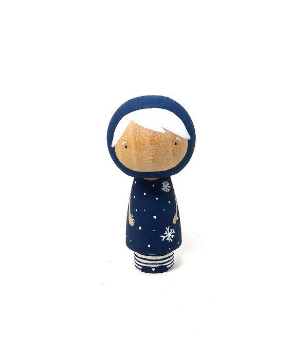 Wooden Kokeshi Peg Doll Let it Snow