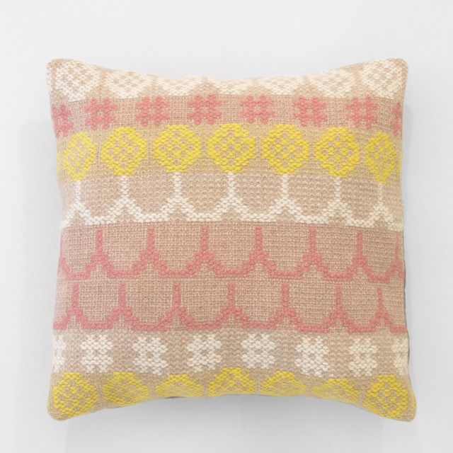 "Add a bit of cuteness to any space with this soft and sweet woven cushion cover (30 x 30 cm / 12"" x 12""). Handwoven by Karen Barbé. Backed with organic cotton sateen.: Cushion Col 2, Karen O'Neil, Karen Barbé, Cushions, Image, Handwoven Pillow, Pillows, Woven Cushion, Textile"