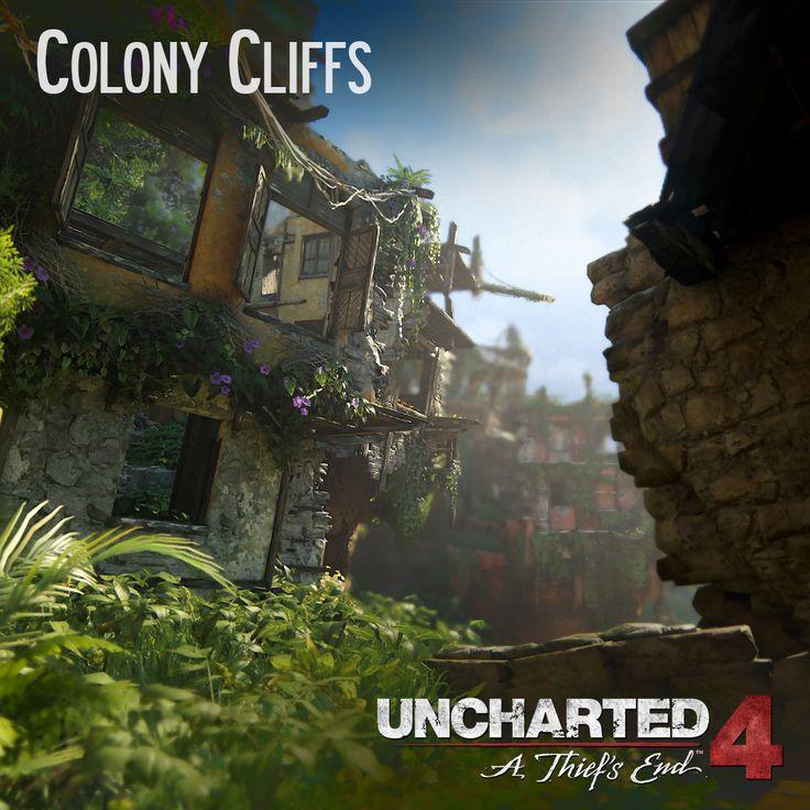 Uncharted 4 - Colony Cliffs, Andres Rodriguez on ArtStation at https://www.artstation.com/artwork/n2k2r