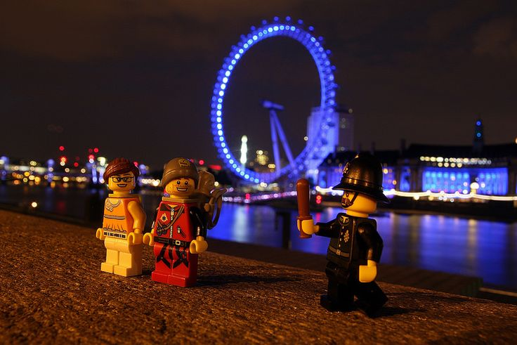 Stop and Search:  Lego Dan and Dot were just passing through London, on their way to sunnier climes, when they were accosted by the local constabulary.     Apparently, being in close proximity to the London Eye laden with climbing equipment is enough to raise 'reasonable suspicion' that one's intentions are to climb said tourist attraction and thus trigger an official Police Stop and Search.
