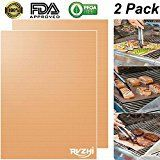 #9: RVZHI Copper Grill Mat Set of 2  Non-stick BBQ Grill & Baking Mats  FDA Approved PFOA Free Reusable and Easy to Clean  Works on Gas Charcoal Electric Grills  15.75 x 13 inches