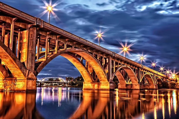 Broadway Bridge in Saskatoon, Canada during the twilight hour. This photo taken by Scott Prokop.