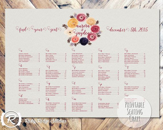 26 best Colour Schemes Marsala themed wedding seating plans - wedding chart