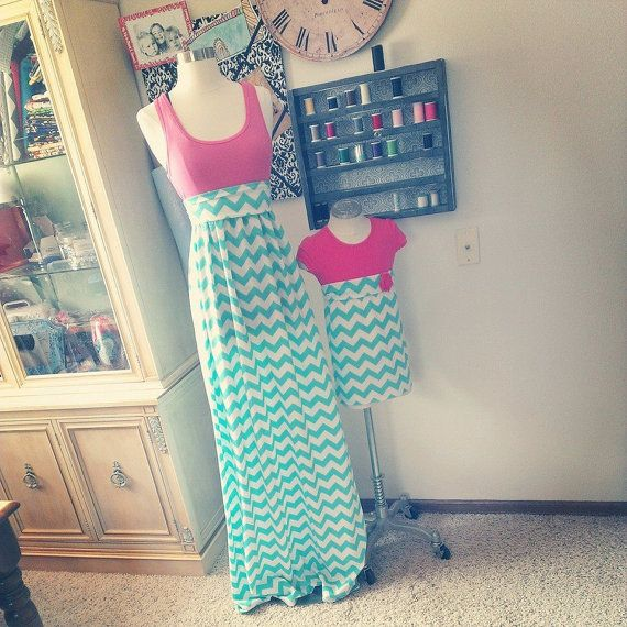 Women's Tank Chevron Maxi Dresses // Custom Dress // Mommy and me set on Etsy, $34.00