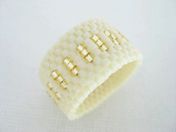 Peyote Ring Cream Gold Band Beadwork Beaded Delica Seed Bead
