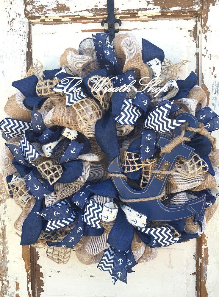 Nautical Anchor Themed Wreath at thewreathshop.com Summer Wreaths, Burlap Wreath, Beach or Lake Wreath