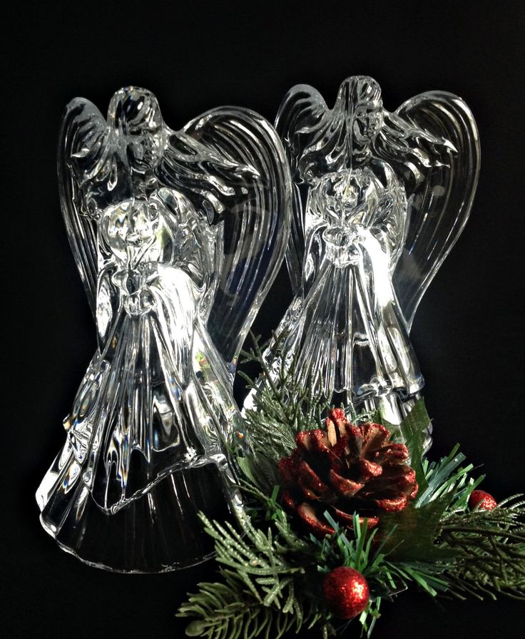 Gorgeous Pair Of LEAD CRYSTAL Christmas ANGEL Candle Holders Candlesticks  Beautiful Quality Glass
