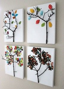 Sweet tree art to do with little man. Buttons, seeds, fabric, glitter.