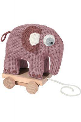 Nachziehtier Elefant gehäkelt rosa