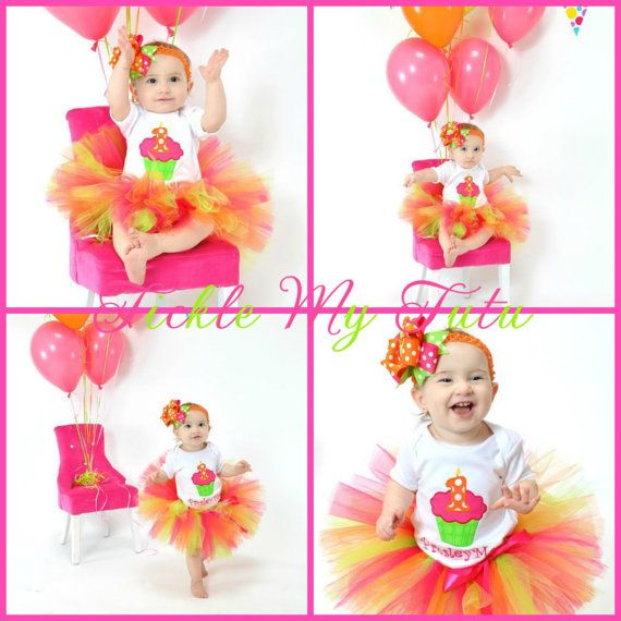 Hot Pink, Lime Green, and Orange Cupcake Birthday Tutu Outfit, Neon Cupcake Birthday Tutu Set, Cupcake Birthday Tutu Set *Bow NOT Included*