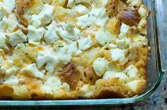 Pioneer Woman Everything Bagel and Cream Cheese Casserole. But if you have eaten this at my house, you know it tastes wonderful. I changed a few recipe specifics: make sure you tear the bagels into SMALL pieces, use 10 eggs, half-and-half instead of milk and cream. I used scallions instead of chives, and only 1/4 tsp. cayenne.