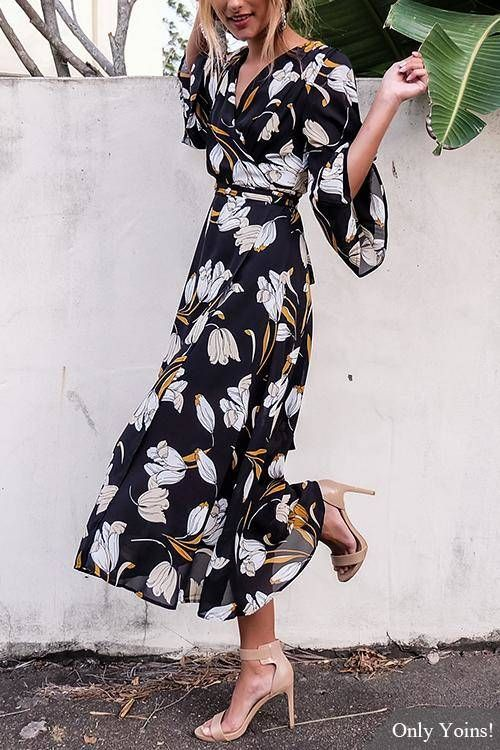 Fashion Random Floral Print V-neck Open Back Maxi Dress -YOINS